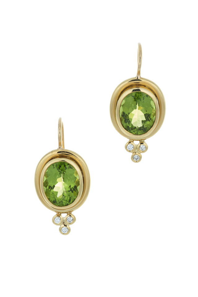 Yellow Gold Peridot & Diamond Earrings