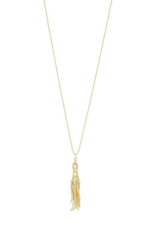 Monica Rich Kosann 18K Yellow Gold Diamond Octopus Pendant Necklace