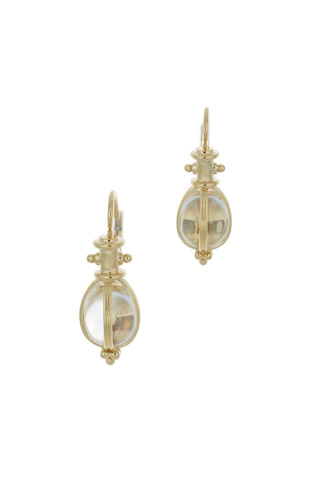 18K Yellow gold Rock Crystal Drop Earrings