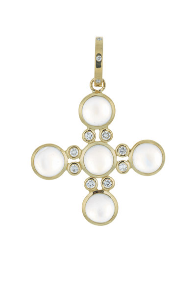 Temple St. Clair - 18K Yellow Gold Moonstone & Diamond Cross Pendant