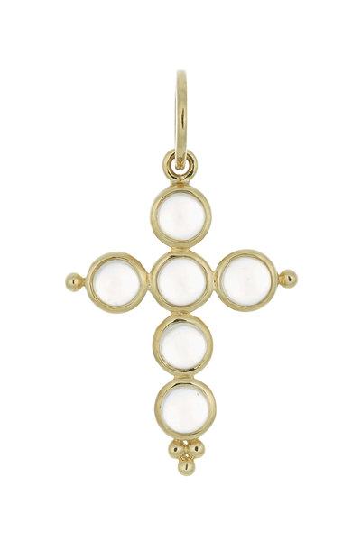 Temple St. Clair - 18K Yellow Gold Moonstone Cross Pendant