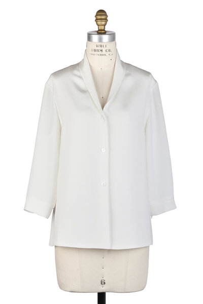 Peter Cohen - White Shawl Collar Tie Cuff Blouse