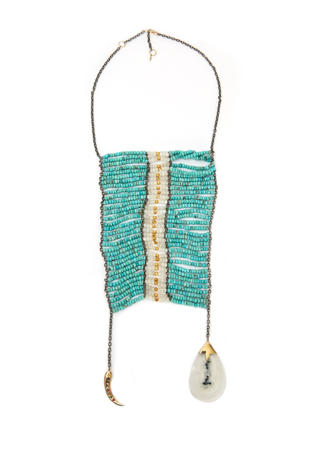 Masai Gold Turquoise Moonstone & Horn Necklace