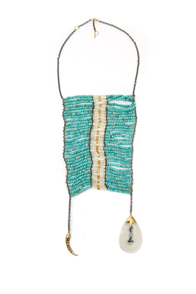 Padma - Masai Gold Turquoise Moonstone & Horn Necklace