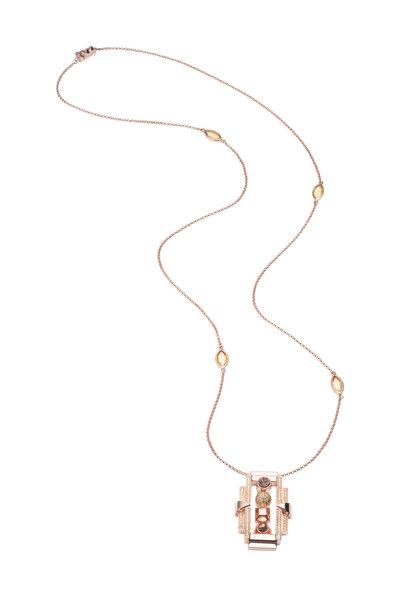 Eddie Borgo - Brass Plated Rose Gold Cubic Zirconia Necklace