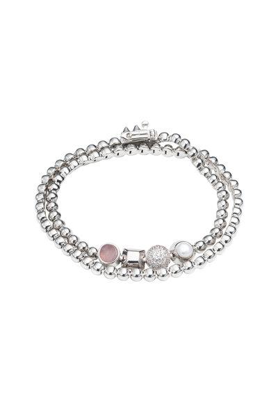 Eddie Borgo - Brass & Silver Plated Quartz & Pearl Wrap Bracelet