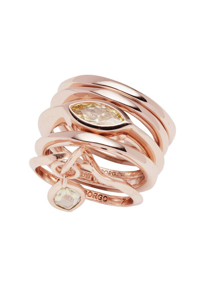 Eddie Borgo - Brass Plated Rose Gold Navette Ring Set
