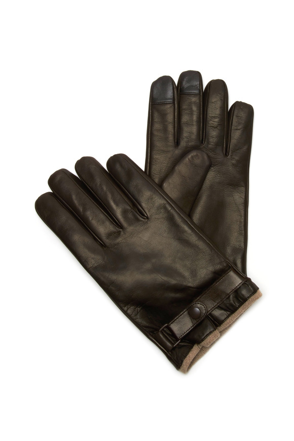 Portolano Brown Nappa Leather Cashmere Lined Gloves