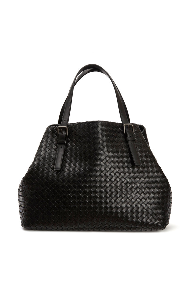 Cabas Black Intrecciato Leather Tote