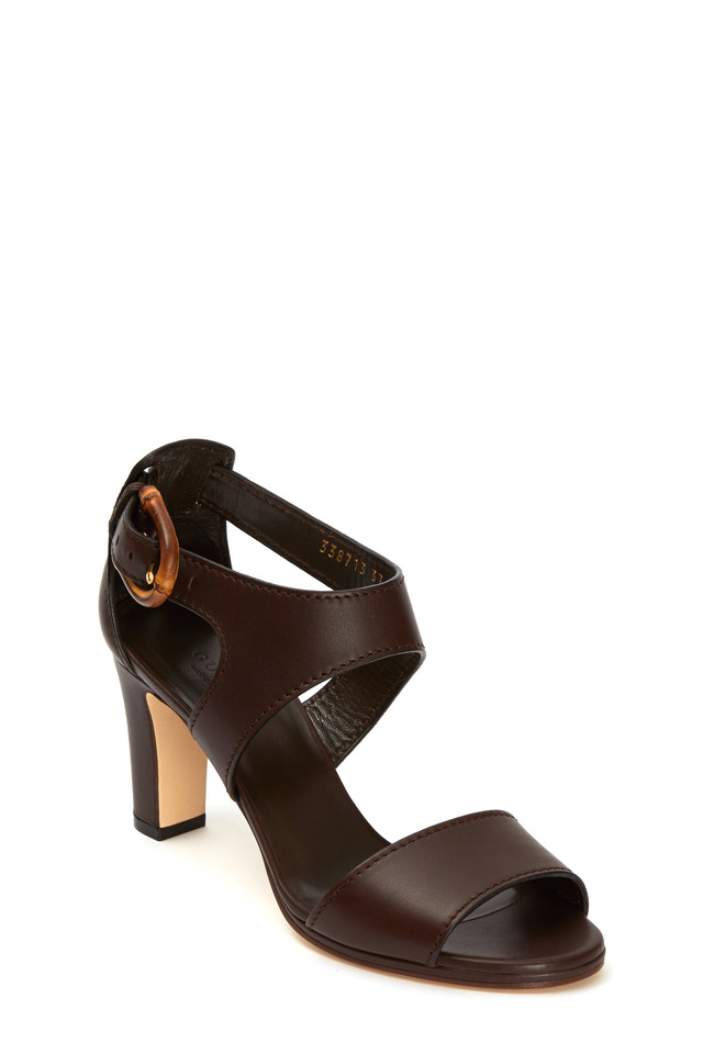 Nadege Dark Brown Bamboo Buckle Sandal, 75mm
