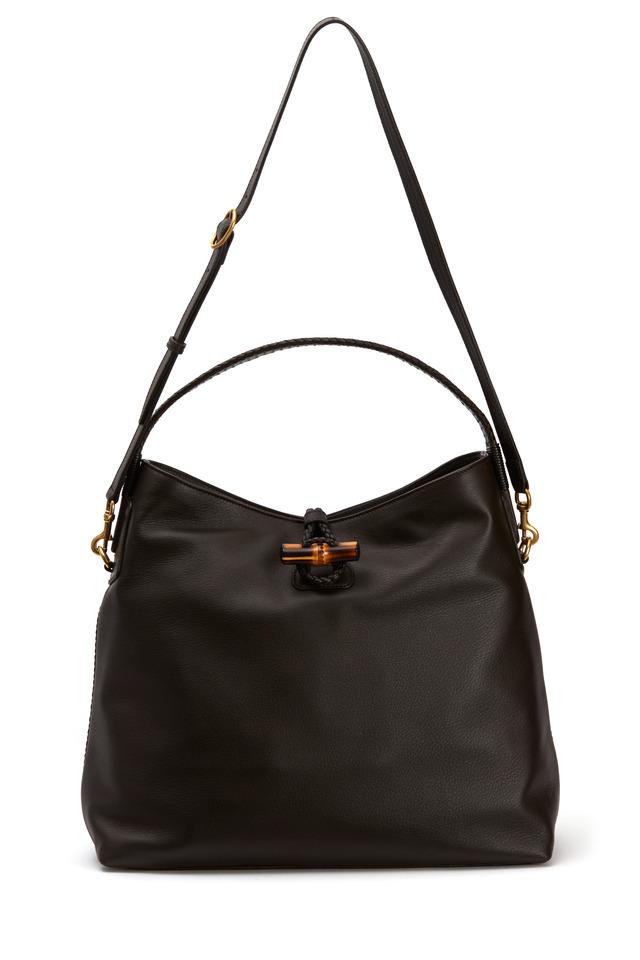 Dark Brown Hip Bamboo Leather Shoulder Bag