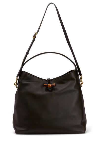Gucci - Dark Brown Hip Bamboo Leather Shoulder Bag