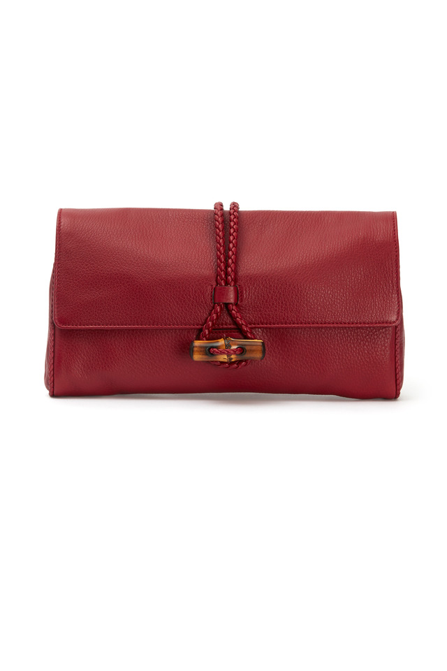 Hip Bamboo Red Leather Braided Clutch