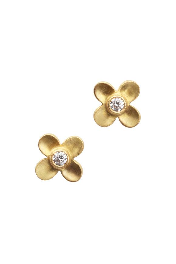 Caroline Ellen 20K Yellow Gold Diamond Flower Studs