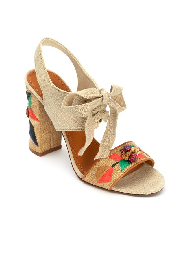 Geraldine Raffia & Linen Lace-Up Sandals