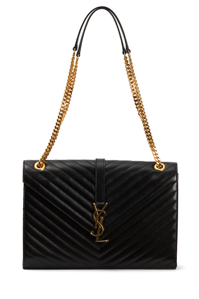 Monogram Black Leather Chain Shoulder Bag
