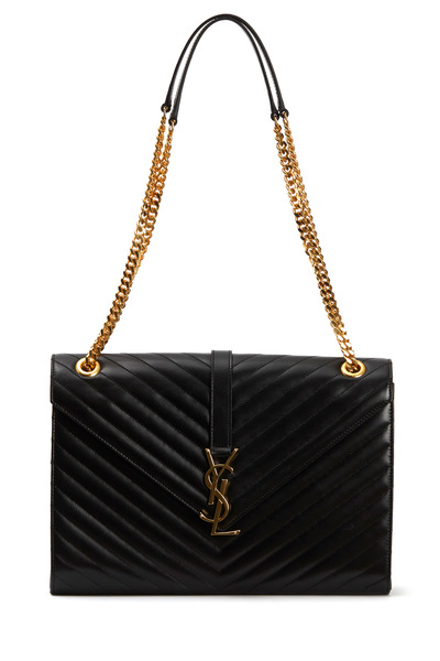 Saint Laurent - Monogram Black Leather Chain Shoulder Bag