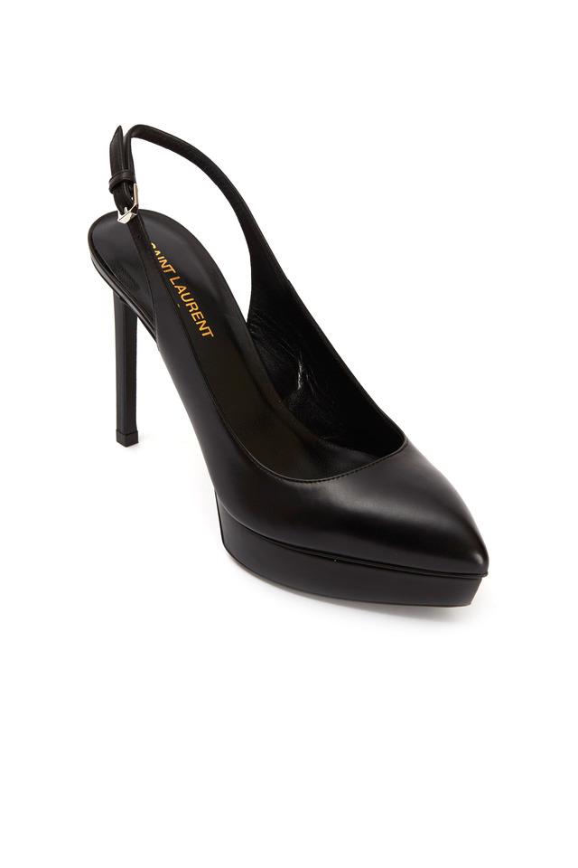Janis Black Leather Platform Slingbacks