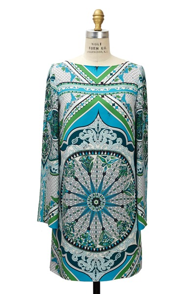 Pucci - Green Silk Pavimento Dress
