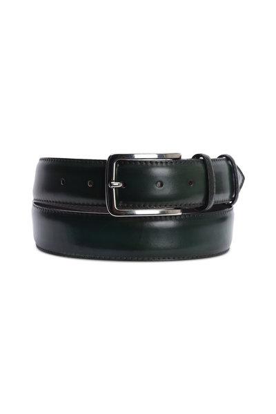 Bontoni - Hunter Green Leather Belt