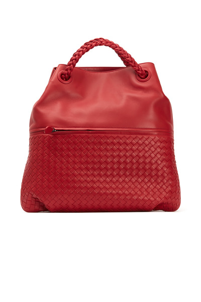 Bottega Veneta - Julie Dark Red Woven Leather Tote