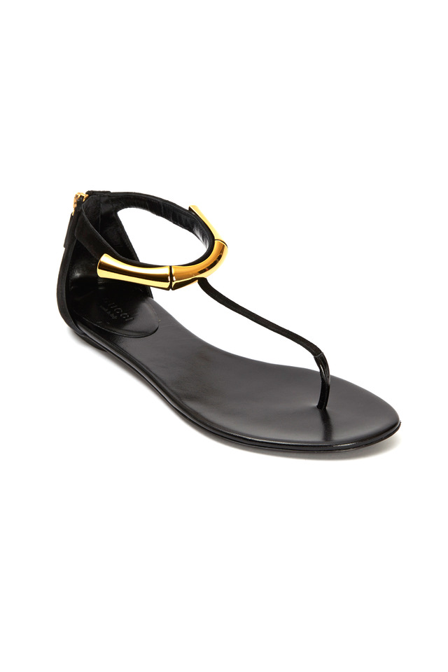 Coraline Black Suede Thong Sandals