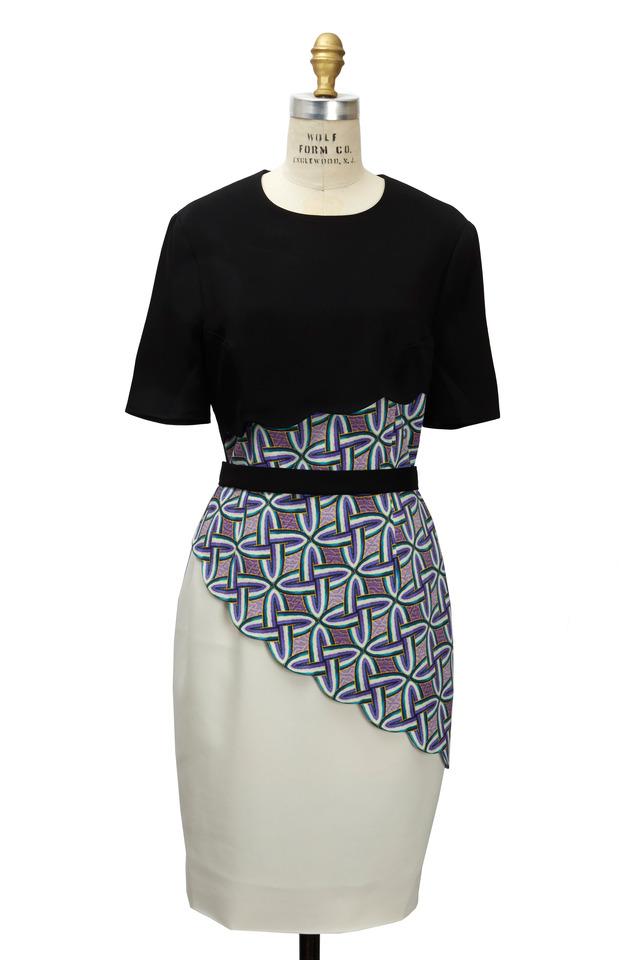 Hanelli Black & Ivory Viscose Stretch Dress