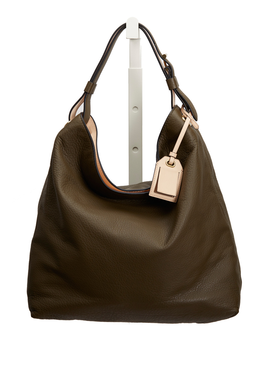 Olive Green Leather Hobo