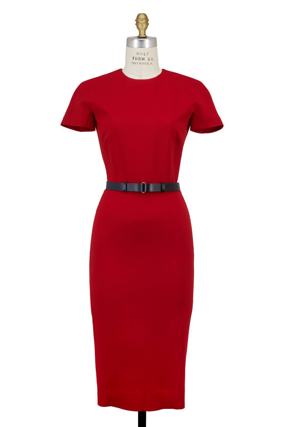 Victoria Beckham Red Double-Faced Crêpe Cap Sleeve Belted Dress
