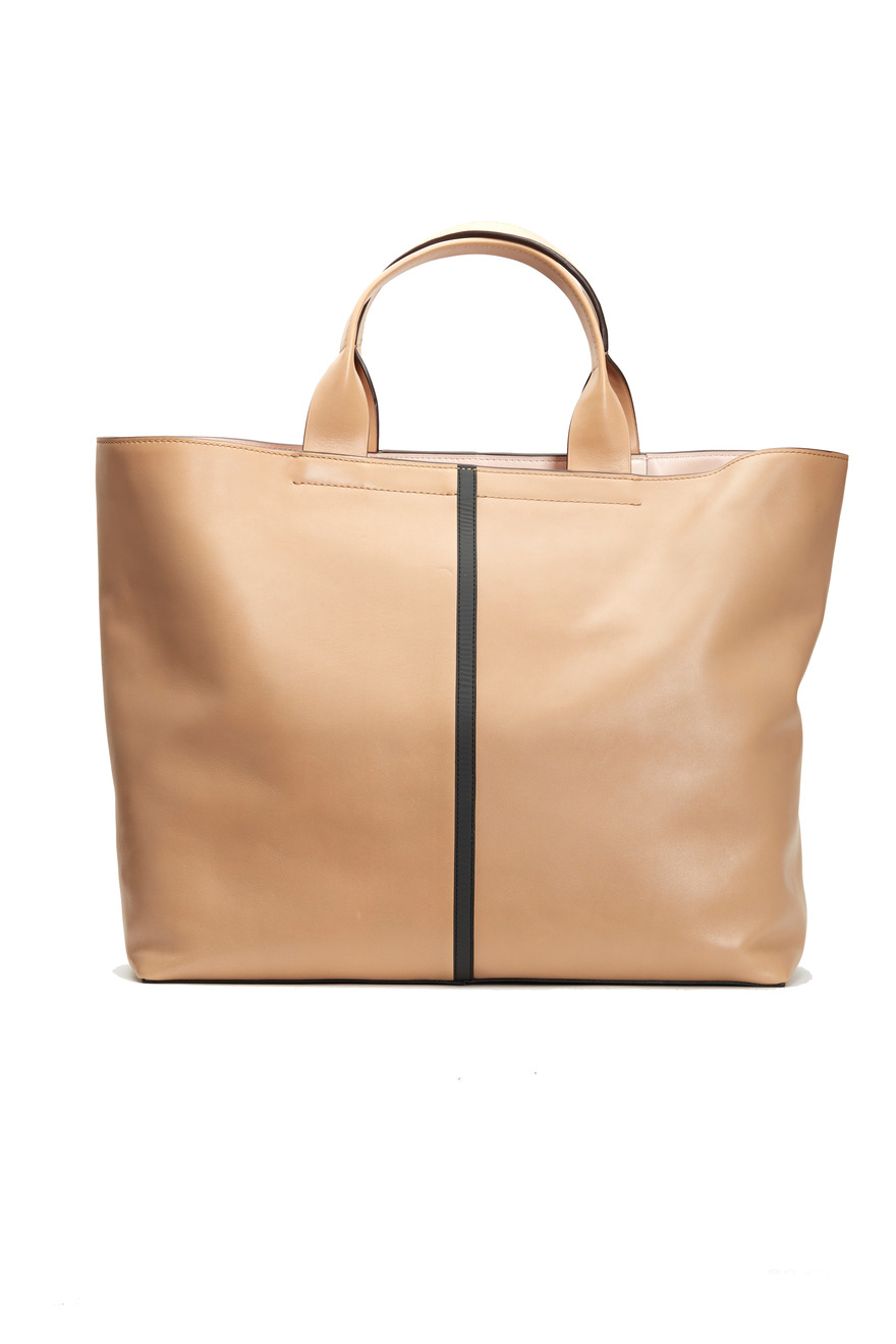 Almond Leather Track Tote With Black Stripe
