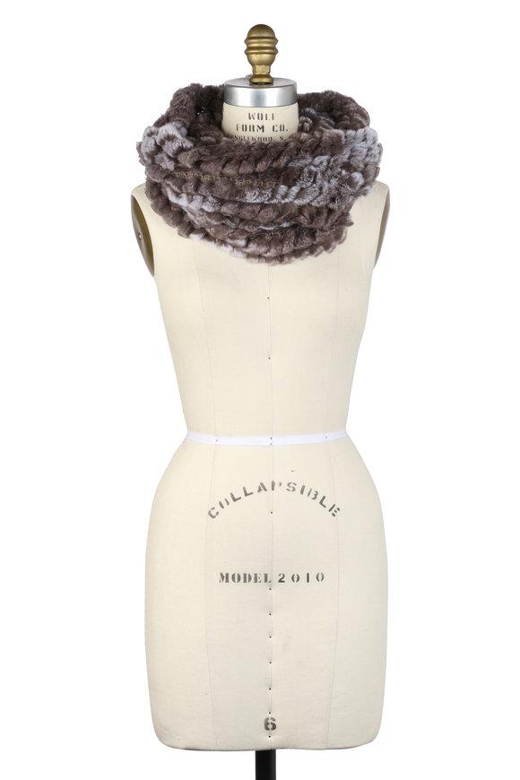 Viktoria Stass Beige Knit & Fur Infinity Scarf