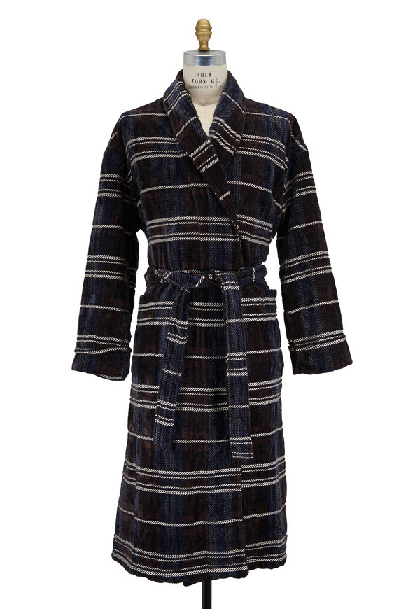Majestic Brown Plaid Plush Robe