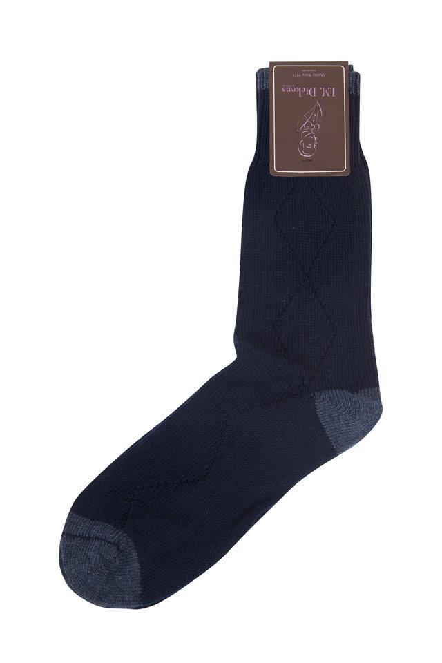 Navy Blue Diamond Drop Stitch Socks