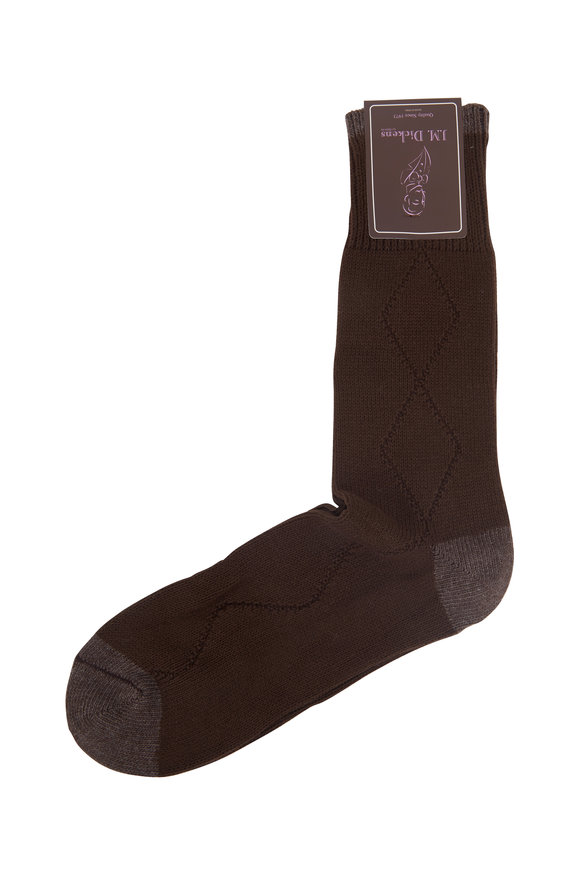 British Apparel Dark Brown Diamond Drop Stitch Socks