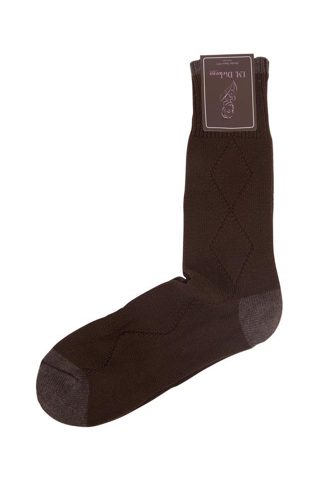 Dark Brown Diamond Drop Stitch Socks