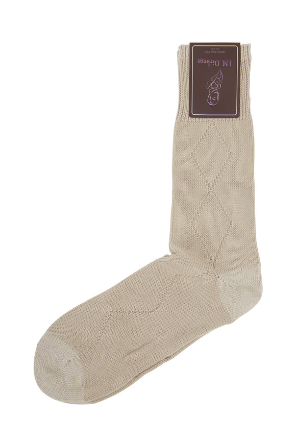 British Apparel Beige Diamond Drop Stitch Socks