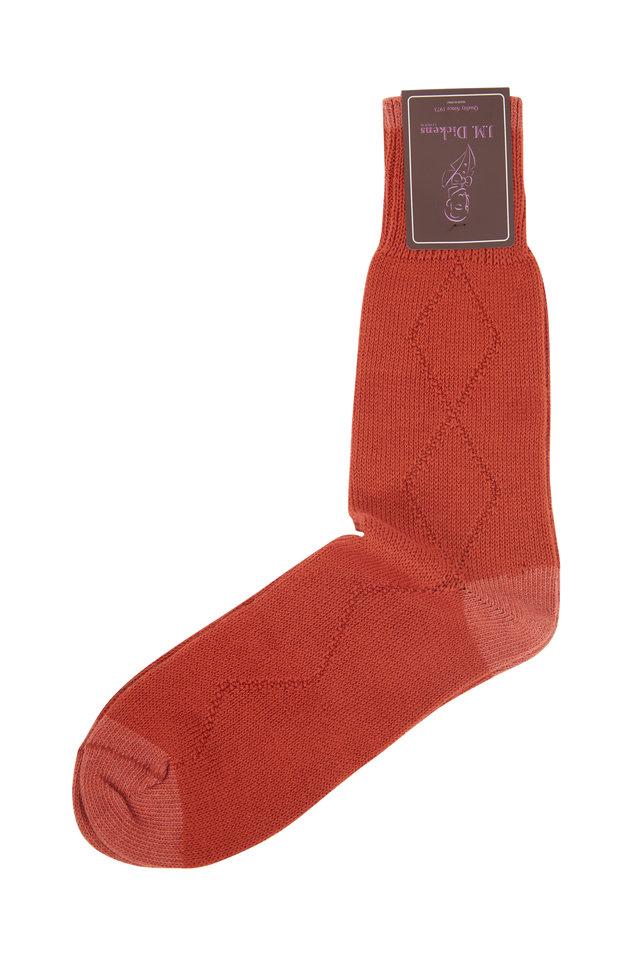 Rust Diamond Drop Stitch Socks