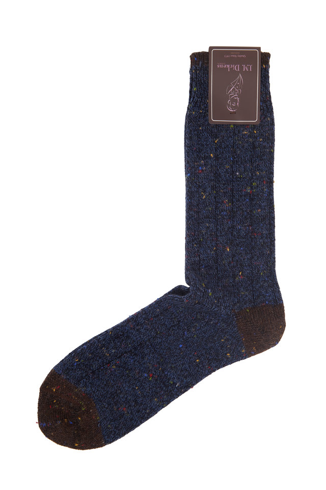Navy Blue Donegal Wool Dress Socks