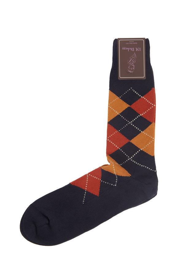 British Apparel Navy Blue Argyle Socks