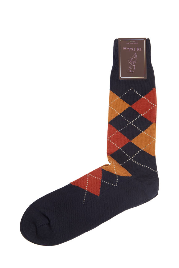 British Apparel Navy Blue Argyle Socks