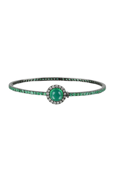 Nam Cho - 18K White Gold Emerald & Diamond Bangle