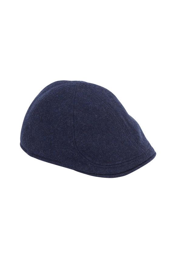 Wigens Dark Blue Mélange Wool Pub Cap