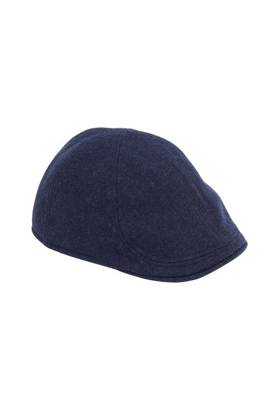 Wigens - Dark Blue Mélange Wool Pub Cap