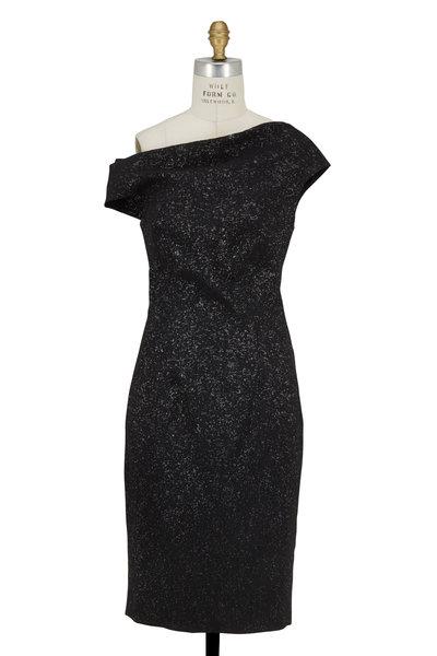Lela Rose - Black Sparkle Stretch Jacquard Dress