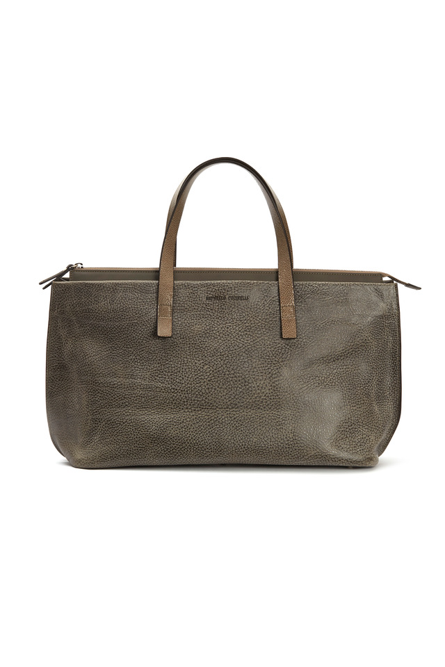 Taupe & Grey Distressed Leather Handbag