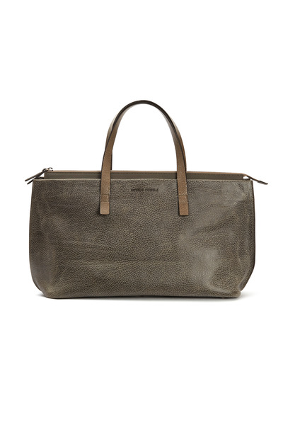 Brunello Cucinelli - Taupe & Grey Distressed Leather Handbag