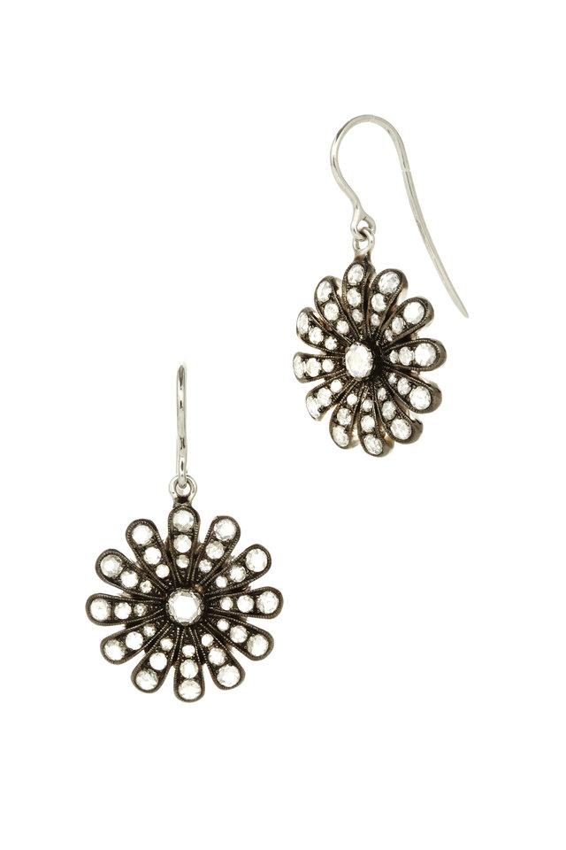 White Gold White Diamond Daisy Earrings