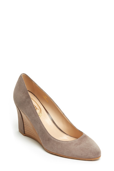 Tod's - Zeppa Dark Taupe Suede Wedge, 75mm