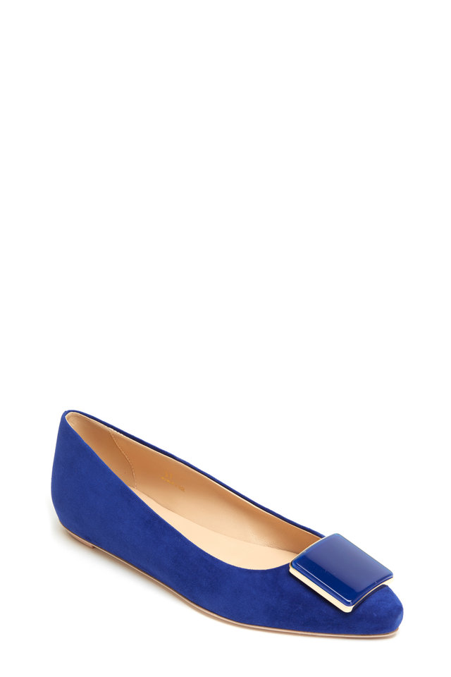 Bright Blue Suede Point Bale Glass Square Flats