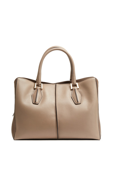 Tod's - D-Cube Taupe Matte Leather Medium Tote